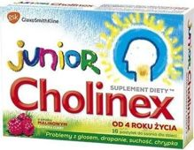 JUNIOR CHOLINEX x 8 pastylek do ssania smak malinowy