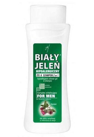 BIAŁY JELEŃ Hipoalergiczny żel & szampon 2w1 for Men z łopianem i proteinami pszenicznymi 300ml