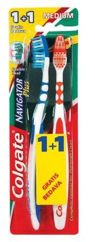 COLGATE Navigator Plus Medium (średnia) Szczoteczka do zębów 1sztuka + 1sztuka
