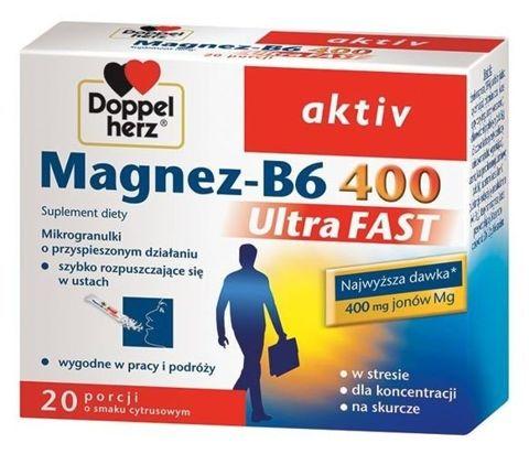 DOPPELHERZ Aktiv Magnez-B6 400 Ultra Fast x 20 saszetek