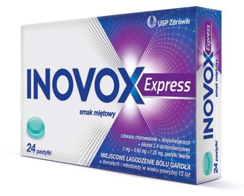 Inovox Express smak miętowy x 24 pastylki do ssania