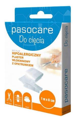 Pasocare Soft Plus plaster włókninowy z opatrunkiem 1m x 6cm