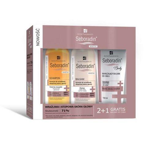 SEBORADIN Sensitive szampon 200ml + balsam do włosów 200ml + balsam do ciała 150ml Gratis!