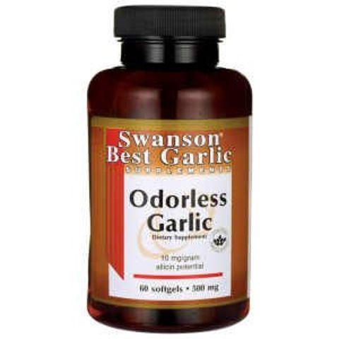 SWANSON Garlic Odorless (bezzapachowy czosnek) 500mg x 60 kapsułek