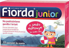 FIORDA JUNIOR x 15 pastylek o smaku malinowym