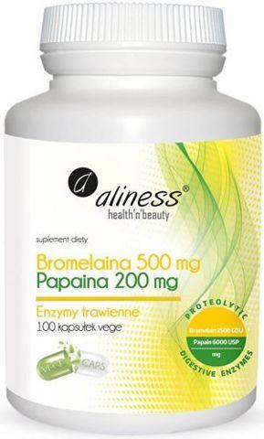 Aliness Bromelaina 500mg Papaina 200mg x kapsułek vege