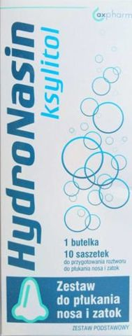 HydroNasin Ksylitol Zestaw podstawowy butelka + saszetki (10 sztuk)