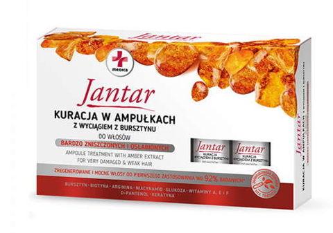 Jantar Medica kuracja w ampułkach z wyciągiem z bursztynu do włosów zniszczonych 5ml x 5 sztuk